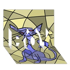 Artistic cat - blue BOY 3D Greeting Card (7x5)