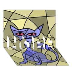 Artistic cat - blue HOPE 3D Greeting Card (7x5)