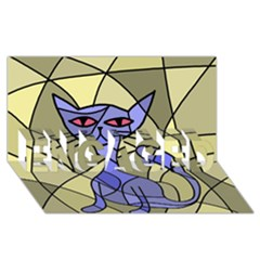 Artistic cat - blue ENGAGED 3D Greeting Card (8x4)
