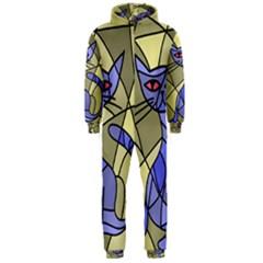 Artistic cat - blue Hooded Jumpsuit (Men)