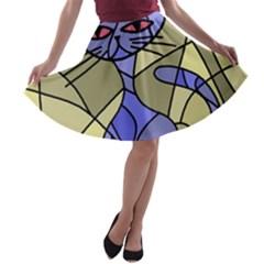Artistic cat - blue A-line Skater Skirt