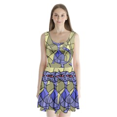 Artistic cat - blue Split Back Mini Dress