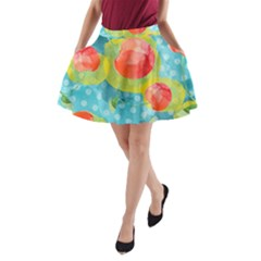 Red Cherries A-Line Pocket Skirt