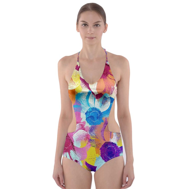 Anemones Cut-Out One Piece Swimsuit