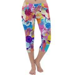 Anemones Capri Yoga Leggings
