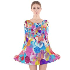 Anemones Long Sleeve Velvet Skater Dress