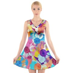 Anemones V-Neck Sleeveless Dress