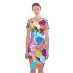 Anemones Classic Short Sleeve Midi Dress
