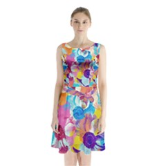 Anemones Sleeveless Chiffon Waist Tie Dress