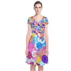 Anemones Short Sleeve Front Wrap Dress