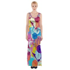 Anemones Maxi Thigh Split Dress