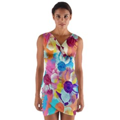 Anemones Wrap Front Bodycon Dress