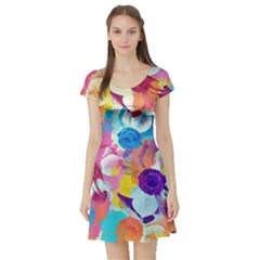 Anemones Short Sleeve Skater Dress