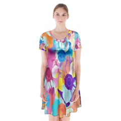 Anemones Short Sleeve V Neck Flare Dress