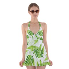 Fern Leaves Halter Swimsuit Dress