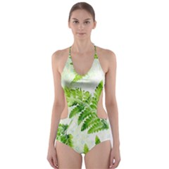 Fern Leaves Cut Out One Piece Swimsuit