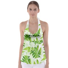 Fern Leaves Babydoll Tankini Top