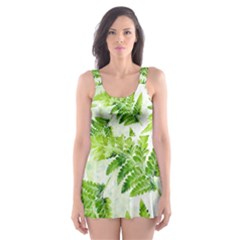Fern Leaves Skater Dress Swimsuit