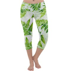 Fern Leaves Capri Yoga Leggings