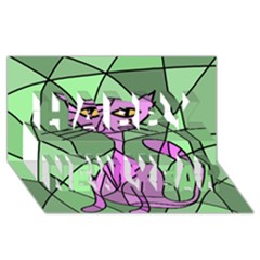 Artistic cat - purple Happy New Year 3D Greeting Card (8x4)