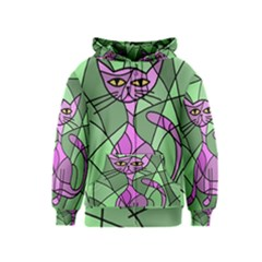 Artistic cat - purple Kids  Zipper Hoodie