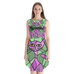 Artistic cat - purple Sleeveless Chiffon Dress