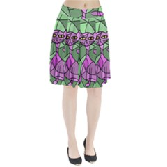 Artistic cat - purple Pleated Skirt