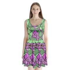 Artistic cat - purple Split Back Mini Dress