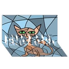 Artistic  Cat   Orange Engaged 3d Greeting Card (8x4)