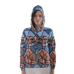 Artistic  cat - orange Hooded Wind Breaker (Women)
