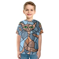 Artistic  Cat   Orange Kid s Sport Mesh Tee