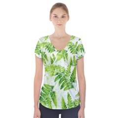 Fern Leaves Short Sleeve Front Detail Top