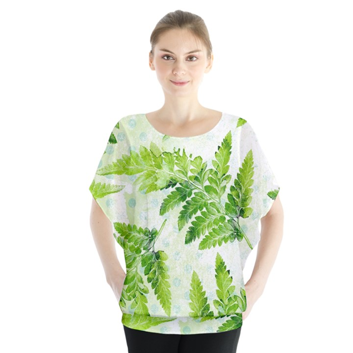 Fern Leaves Batwing Chiffon Blouse