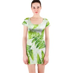Fern Leaves Short Sleeve Bodycon Dress