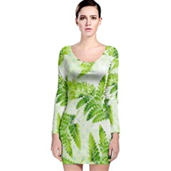 Fern Leaves Long Sleeve Velvet Bodycon Dress