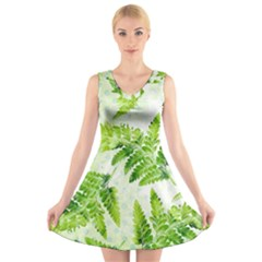 Fern Leaves V Neck Sleeveless Dress