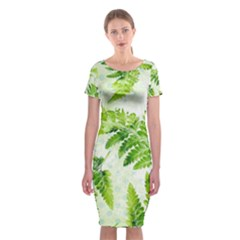Fern Leaves Classic Short Sleeve Midi Dress