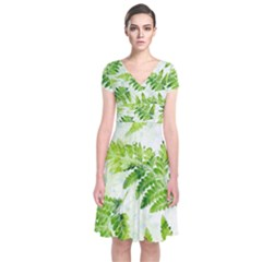 Fern Leaves Short Sleeve Front Wrap Dress