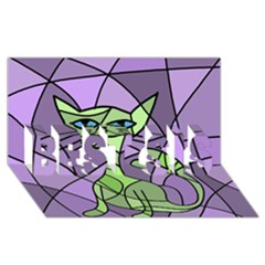Artistic cat - green BEST SIS 3D Greeting Card (8x4)