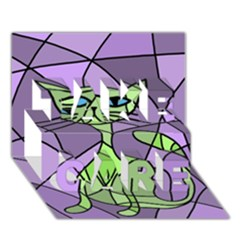 Artistic cat - green TAKE CARE 3D Greeting Card (7x5)