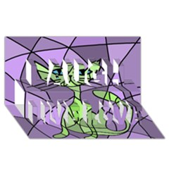 Artistic cat - green Laugh Live Love 3D Greeting Card (8x4)