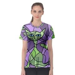 Artistic cat - green Women s Sport Mesh Tee