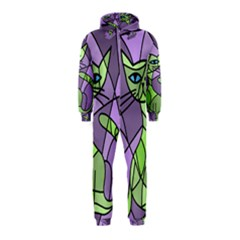 Artistic cat - green Hooded Jumpsuit (Kids)
