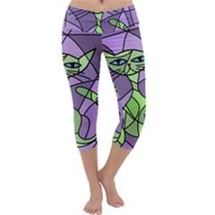 Artistic cat - green Capri Yoga Leggings