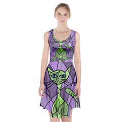 Artistic cat - green Racerback Midi Dress
