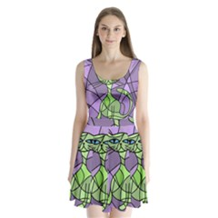 Artistic cat - green Split Back Mini Dress