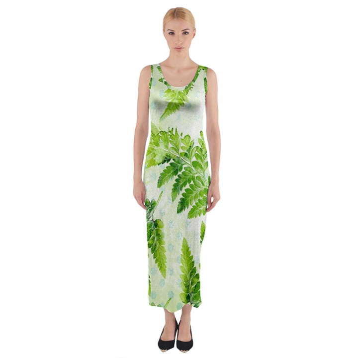 Fern Leaves Fitted Maxi Dress