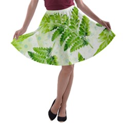 Fern Leaves A-line Skater Skirt
