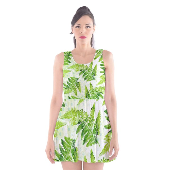 Fern Leaves Scoop Neck Skater Dress