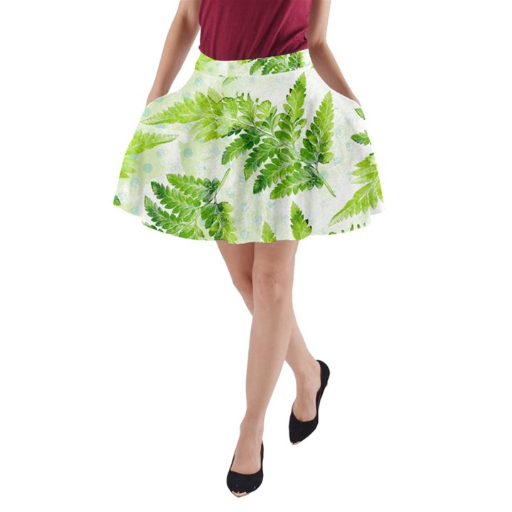 Fern Leaves A-Line Pocket Skirt